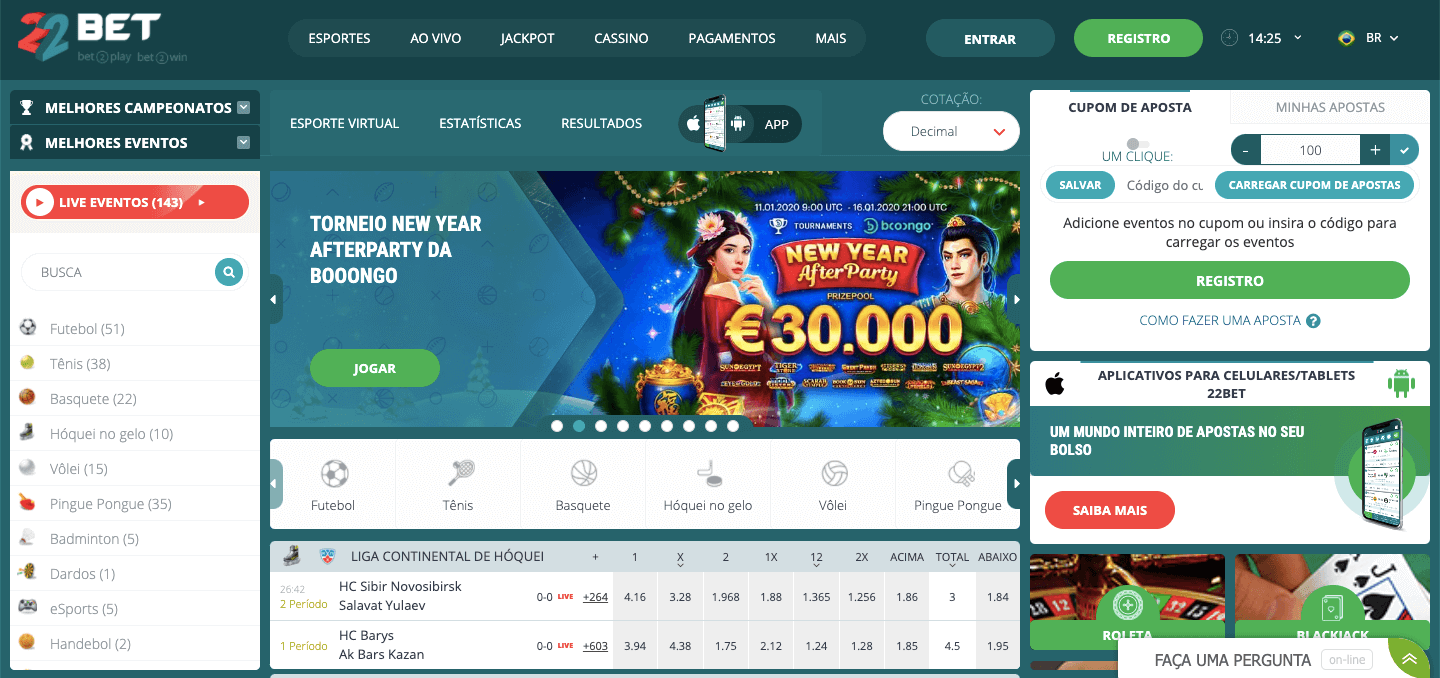 22Bet br Homepage