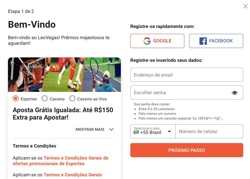 LeoVegas Br Registo